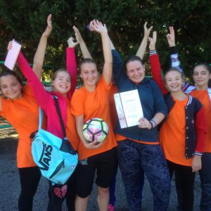 Победители районного этапа Спартакиады школьников Кубани по мини- футболу среди девушек 7-8 класс